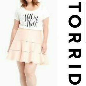 Torrid Blush Pink Flare Sweater Skater Skirt NWT